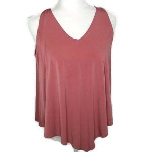 First Love Tank Top Size M Dusty Rose Flowy V Neck